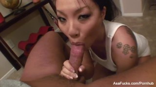 Asa Akira's POV Blowjob hardcore handjob point of view asian babe puba cumshot cock sucking tattoo asaakira japanese blow job cum eating asafucks pov skinny facial