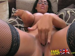 : FakeAgentUK Tall secretary chick with incredible tits proves too much for