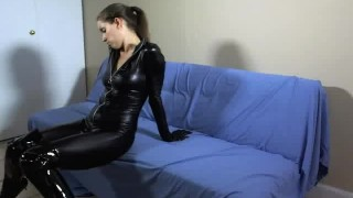 WEBCAM: FemDom Catsuit JOE BTS  bts homemade boots femdom catsuit amateur solo leather lelu fetish webcam lelu-love latex behind the scenes