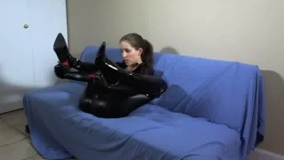 WEBCAM: FemDom Catsuit JOE BTS  bts homemade boots femdom catsuit amateur solo leather lelu fetish webcam latex behind the scenes lelu love