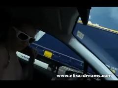 Blonde Driving Naked and Masturbating