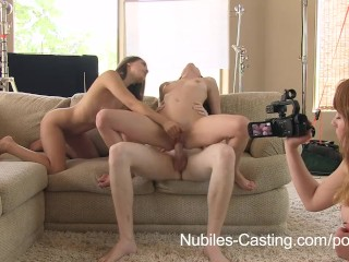 Nubiles Casting - An unexpected threesome for teen porn tryout