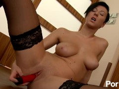Short-haired raven with nice big-tits fucks her twat with her favorite toy