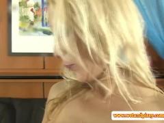 Blonde drinks her own pee