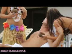 """PassionHD – Two tropical beauties """"""""lei"""""""" their man"""