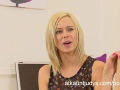 Anna Joy gets horny and masturbates after an interview in the office