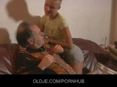 Sexy short haired blonde tease and fuck older guy