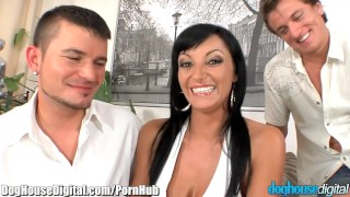 EXCLUSIVE: DogHouse Bi Curious Couple has MMF Threesome  doghousedigital.com cum on tits big tits muscular raven sexy amateur blowjob cumshot skinny bisex fingering anal pussy licking