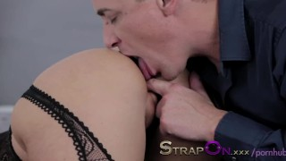 StrapOn Double pentration for sexy blonde and cumshot for finish  strap on female orgasms natural strapon dp dildo blonde sensual orgasms romantic adult toys sex toy double penetration female friendly
