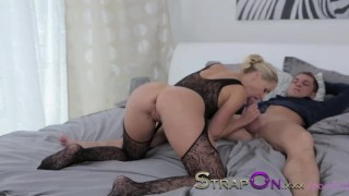 StrapOn Double pentration for sexy blonde and cumshot for finish  female orgasms sex-toy natural strapon dp dildo blonde female-friendly strap-on sensual orgasms double-penetration romantic adult toys