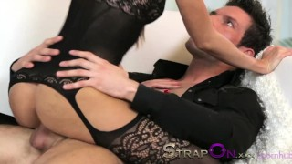 StrapOn Brunette babe pegging her boyfriends ass  sex-toy pegging strapon adult-toys kissing dildo female-friendly strap-on sensual ass-fuck orgasms czech ass-fucking small-tits romantic female-orgasms