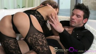 StrapOn Brunette babe pegging her boyfriends ass  strap on ass fuck female orgasms ass fucking pegging strapon kissing dildo small tits sensual orgasms czech romantic adult toys sex toy female friendly