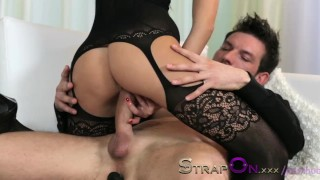 StrapOn Tattooed guy is pegged by his sexy brunette girlfriend  strap on ass fuck female orgasms ass fucking pegging natural strapon dildo small tits sensual orgasms czech romantic adult toys sex toy female friendly