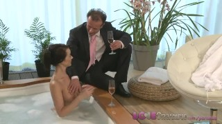 Preview 2 of Love Creampie Busty mom gets cum inside after sexy romantic hot tub romp