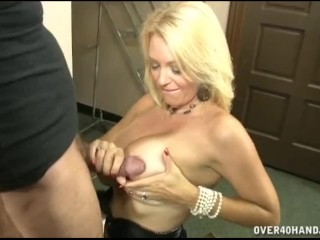 Hot Busty Milf Jerks Off A Mature Man