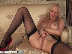 : Sam is so horny in her nylons and heels
