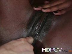 HD POV Petite Black Girl Is hungry for your Cock