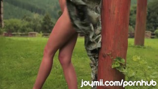 Preview 2 of Joymii Eufrat Strips And Masturbates With Dildo Outdoors Beside Log Cabin