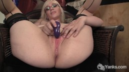 Stockinged Ruby Vibrating her Pink Pussy