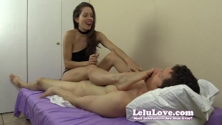 Lelu Love-Feet On Face Handjob  homemade foot femdom amateur cfnm lelu cumshot soles fetish domination hardcore handjob feet clothed choker lelu love
