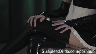 Rossy Kiss-Cleans Mia's Latex Clad Pussy  strap on high heels raven maid lesbians sexy cunnilingus skinny straplessdildo.com kinky office latex pussy eating adult toys girl on girl sex toy