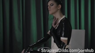 Rossy Kiss-Cleans Mia's Latex Clad Pussy  strap on high heels raven maid lesbians sexy cunnilingus skinny kinky office latex pussy eating adult toys girl on girl sex toy straplessdildo.com