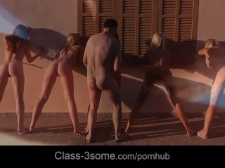 Five exquisite babes in amazing group sex