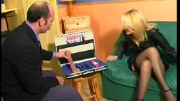 Blonde trying samples from the dildo salesman