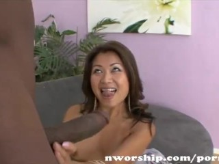 asian girl sucks and rides big black cock into interracial sex fun