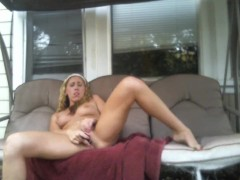 Hot sexy blonde Brandy Grindz Fingers Her Nice Pussy and Squirts All Over