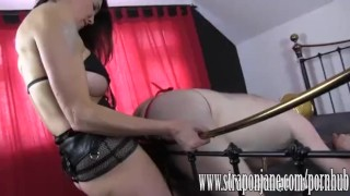 Submissive gimp fucked hard by FemDom Strapon Jane  strap on ass fuck big tits submissive slave humiliation femdom cumshot handjob milf brunette mask orgasm throatfuck adult toys sex toy straponjane.com clamp