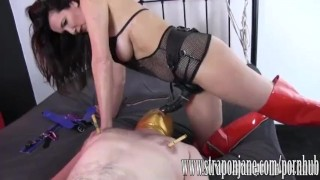 Submissive gimp fucked hard by FemDom Strapon Jane  strap on ass fuck big tits submissive slave humiliation femdom cumshot handjob milf brunette orgasm throatfuck adult toys sex toy straponjane.com clamp mask