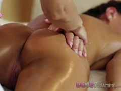 Love Creampie Young girl gets cum inside in oily massage threesome