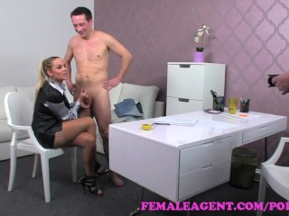 FemaleAgent. Sexy MILF calms nervous studs fears during casting