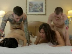 2trans fucked by 2 guys, Hot 4some