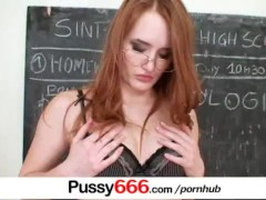 : Red head babe Denisa Heaven pussy spreading close ups