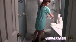 Lelu Love-Helping Him Pee SPH  homemade 1080p hd humiliation femdom amateur sph cfnm lelu fetish domination brunette peeing natural tits clothed lelu love