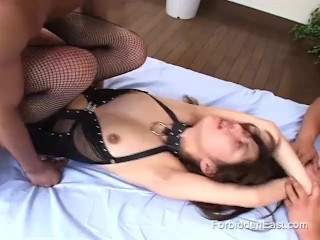 Japanese sex slave held down and fucked by two men
