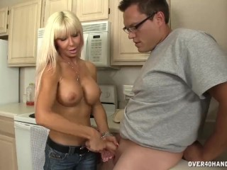 Hot Milf Handjob In The Kitchen