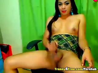 Cute Horny Tranny Strokes her Huge Cock