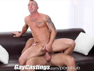 GayCastings Tatted muscle stud jerks off on cam for $