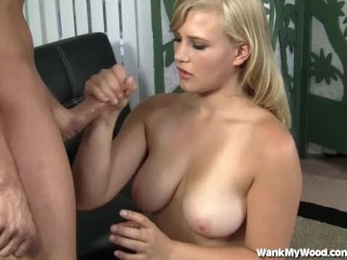 Cute Teen With Big Tits Gives Great Handjob