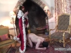Mistress Carly fucks gimps ass with strapon using his creamy spunk as lube