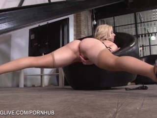 Blonde sex goddes playing with her wet pussy in tan stockings
