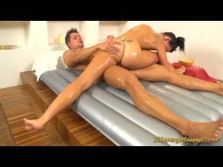 cute flexible gymnast offers slippery Nuru massage