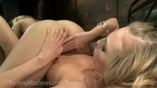 Epic Cumming From Sex Machines  big tits machine squirt dildo blonde fetish kink kinky hitachi lesbian sex orgasm fuckingmachines pussy fuck girl on girl robot