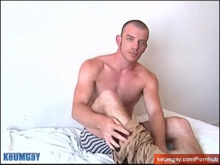 Hunk french guy gets wanked his huge cock by a guy.