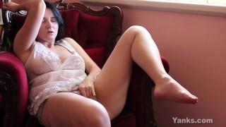 Busty Brunette Aeryn Masturbating Her Hairy Pussy
