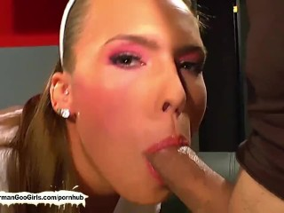 Cute babe loves it when her pretty face is covered with jizz!