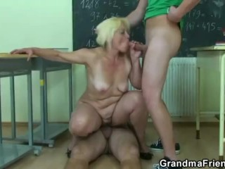 Two dudes bang old teacher